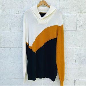 Sean John Color Block Cowl Neck Sweater